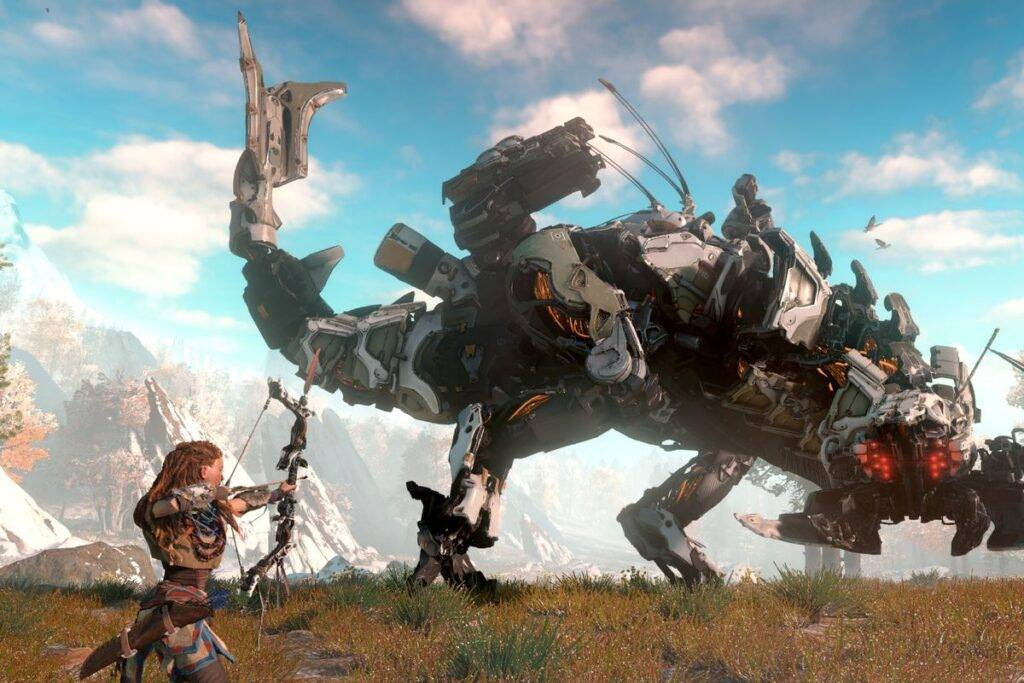 Aloy fighting a giant T-Rex machine creature drawing her bow in Horizon Zero Dawn