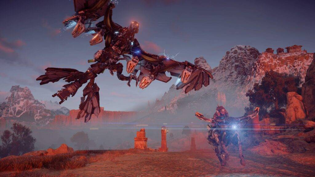 Aloy riding on a mount in to battle a flying machine creature in Horizon Zero Dawn